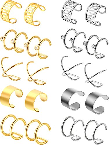 10 Pairs Stainless Steel Ear Cuff Helix Cartilage Clip on Earrings Non Piercing Cartilage Earrings for Women Girls Supplies, 5 Styles (Steel and Gold)