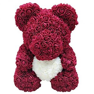 "10"" Rose Flower Teddy Bear Shaped Artificial Flowers Valentines Wedding Anniversary Birthday Gifts Toys for Girlfriend Girls"