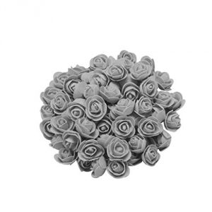 100pcs Foam Rose Heads Artificial Flowers Wedding Bride Bouquet Party Decor Birthday Decorations Valentine's Day Gifts for Kids Women Girls Girlfriend Wife (Gray)