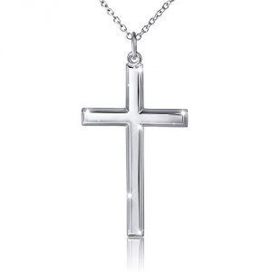 14ct White Gold Chain Cross Pendant Necklace for Men, Women w/real strong Solid Clasp Miami Cuban Link style (20) (20)