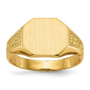 14k Yellow Gold Fashion Mens Signet Ring
