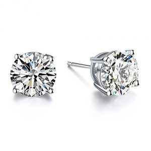 18K White Gold Plated Hypoallergenic CZ Studs Earrings 925 Sterling Silver with Cubic Zirconia from Swarovski Stud Earrings Simulated Diamond Jewelry for Her (6mm White Gold Plated)