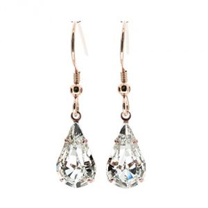 18ct Rose Gold drop earrings for women made with sparkling Diamond White teardrop crystal from Swarovski®. London jewellery Box. Hypoallergenic & Nickle Free Jewellery for Sensitive Ears.