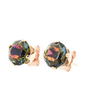18ct Rose Gold on 925 Sterling silver stud earrings for women made with sparkling Volcano crystal from Swarovski®. London jewellery box. Hypoallergenic & Nickle Free Jewellery for Sensitive Ears.