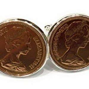 1979 40th Birthday/Anniversary 1 pence coin cufflinks - One pence cufflinks from 1979 for a 40th