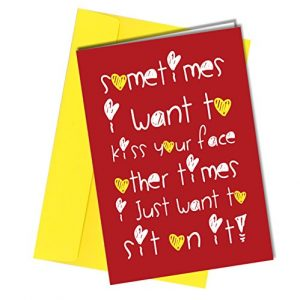 #22 VALENTINES or BIRTHDAY CARD Boyfriend Rude Humorous Funny Greetings Card A4 folded to A5 (210 x 148mm when folded) By: Close to the Bone