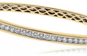 2CT Certified G/VS2 Round Brilliant Cut Channel Set Diamond Bangle in 18K Yellow Gold