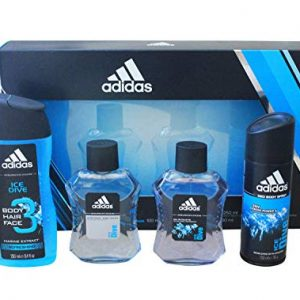 Adidas Ice Dive 4-Piece Set for Men - Eau de Toilette, After-Shave, 3-in-1 Body Hair Face Wash, and Deodorant Spray
