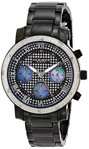 Akribos XXIV Women's AK440BK Chronograph Quartz Movement Watch with Black Dial and Black Ion Plated Stainless Steel Bracelet