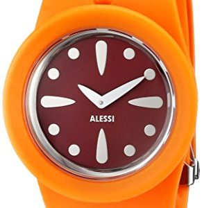 Alessi Unisex Automatic Watch with Red Dial Analogue Display and orange Plastic or PU Bracelet AL1001