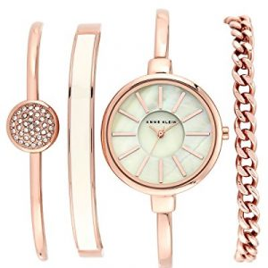 Anne Klein Women's The Box Set Quartz Watch with Mother of Pearl Dial Analogue Display and Rose Gold Stainless Steel Bracelet AK/N1470RGST