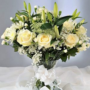 Anniversary Flowers Delivered – Large Deluxe White Rose & Lily Fresh Flower Bouquet - FREE UK Next Day Delivery in a 1hr Window 7 Days a Week - Luxury Floral Arrangement for Birthday Present & Specia
