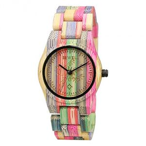 BEWELL Bamboo Wooden Watch Women Wrist Watches Handmade Natural Colorful Dress Fashion Quartz Movement Analog Wristwatch for Ladies