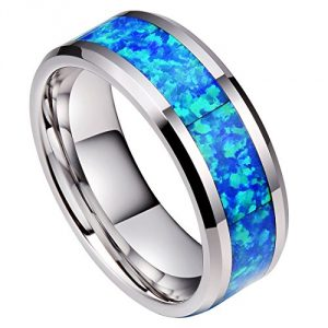 DOUX 8mm Mens White Tungsten Carbide Ring Blue Opal Inlay Wedding Band Comfort Fit High Polished(11.5)