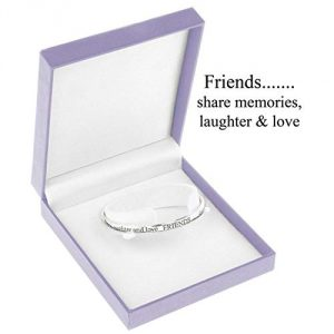 'Friends Share Memories, Laughter and Love' - Silver Plated Bangle(Size: One size)