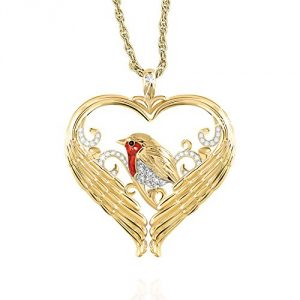 'Messenger Of Love' Robin Diamond Heart Shaped Pendant With Rich 24-Carat Gold-Plating, Over 20 Crystals And A Genuine Diamond. Exclusively From The Bradford Exchange