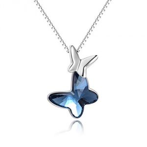 Sterling Silver Butterfly Pendant Necklace with Blue Swarovski Crystals, Jewellery Gifts for Women Girls