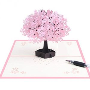 TuHao Cherry Blossom Pop Up Card, 3D Card for Birthday, Mothers Day, Anniversary, Valentine, Wedding. Thank You Note Card - Cherry Blossom Tree