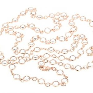 103cm long 18ct Rose gold plated necklace for women made with Diamond White crystal from Swarovski®. London jewellery box.