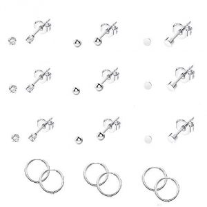 12 Pairs Tiny Earrings CZ Round Stainless Steel Stud Hoops Earrings Set for Men Women Silver Tone