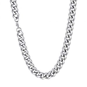12MM Wide Curb Chain Necklace With Curved Edges, Diamond Finish Cuban Link Chain, Lobster Clasp, 46CM(18 Inch) Length, 316L Stainless Steel Jewelry Unisex Necklace (Gift Packaging), RN20035G-12-18