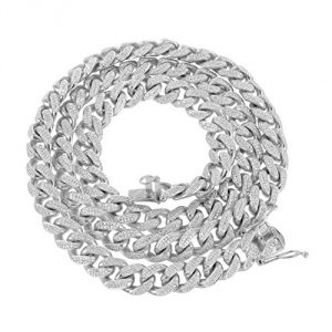 """12mm Miami Cuban Necklace Iced Out Simulated Diamonds Sterling Silver 24"""" Inch Chain"""