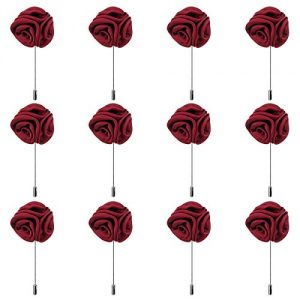 12pcs Burgundy Red Lapel Pin Rose Wedding Boutonniere Set For Men Flower