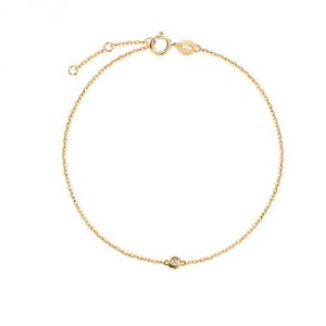 18K Solid Yellow Gold Bracelet with Solitaire Natural Diamond 0.015 ct - Chain Length: 6.7 + 1.2 Inch