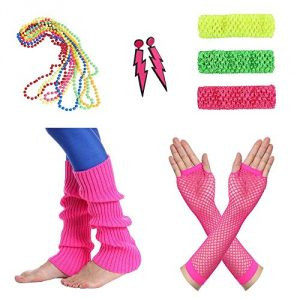 Amaza 80s Womens Fancy Outfit Costume Accessories Necklaces Earrings Headbands Gloves Legwarmers (Multicoloured)