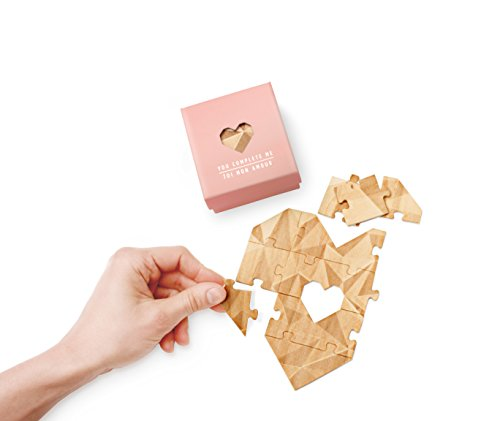 Heart Shaped Jigsaw Puzzle Unique Love Card With Personalized Romantic Message - You Complete Me - 10 Piece Set, Pink