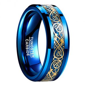 Nuncad Tungsten Carbide Wedding Ring for Men Gold Plated Celtic Dragon Blue Carbide Fiber Size P 1/2