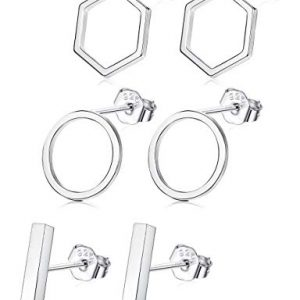 Sllaiss 3 Pairs 925 Sterling Silver Stud Earrings Set Assorted Shapes Bar Circle Hexagons Stud Earrings for Women Hypoallergenic