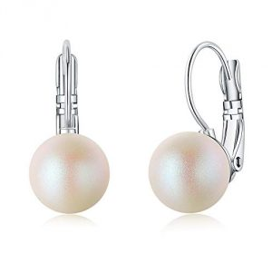 "TOJEAN ""Mysterious Beauty"" White Pearl Hoops Earrings, Jewellery for Women, Best Gifts for Women"
