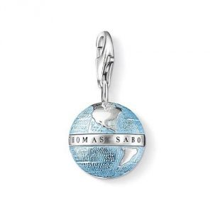 Thomas Sabo Women-Charm Pendant Globe Charm Club 925 Sterling Silver blackened blue 0754-007-1