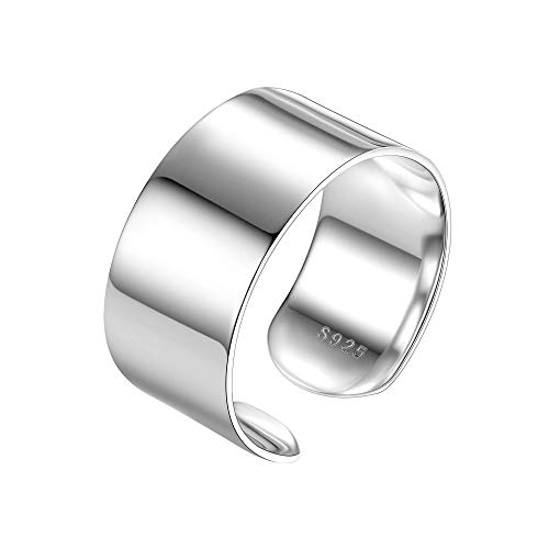 Wide Band Ring 10mm Cuff Ring Valentines Day Gift Sterling Silver 925 Simple Open Band Rings Gift