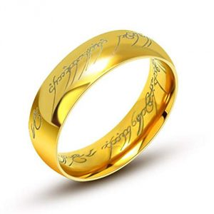 aurstore  6mm Tungsten 'Lord of the Rings' Ring - with 54cm Steel Chain gold