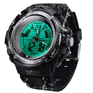 10 ATM Waterproof Scuba Sports Diving Watch for Men Women Kids with Timer, Alarm and LED Flashlight, 12/24 Hour Format Selectable