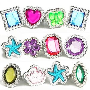 100Pcs Plastic Rhinestone Gemstone Rings Sets | Little Girls Fashion Accessory Kids Jewelry | Childrens Toys for Birthday Christmas Party Bags Filler | Dress Up Parties Princess Toy Diamond Gems Ring