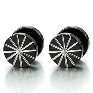 10MM Steel Mens Black Earrings, Illusion Tunnel Cheater Fake Ear Plugs Gauges, Screw Back, 2pcs