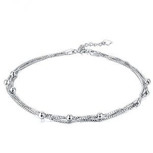 3 Layer Chain Anklets for Women Girl 925 Sterling Silver Bead Anklet Christmas Jewellery Adjustable Length