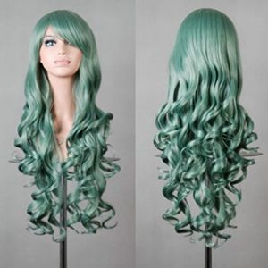 """32"""" 80cm Long Hair Heat Resistant Spiral Curly Cosplay Wig(Green)?"""