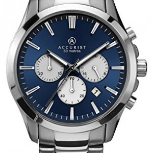 Accurist Men's Quartz Watch with Blue Dial Chronograph Display and Silver Stainless Steel Bracelet 7066