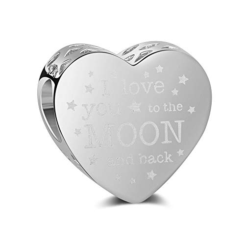 """I Love You to The Moon & Back"" Heart Shape Charm Authentic 925 Sterling Silver Beads Fits Pandora & All European Charm Bracelets & Necklaces (Silver)"