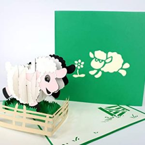 Sheep, Farm,Green cat Birthday Card pop up Greeting Card Mercedes-Benz Car Anniversary Baby Happy Birthday Easter Mother's Day Thank You Valentine's Day Wedding Kirigami Paper Craft Postcards