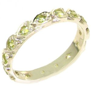 Solid Sterling Silver Natural Peridot Full Eternity Stackable Band Ring with Hearts - Size T