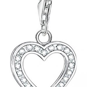 Thomas Sabo Women-Charm Pendant Heart Charm Club 925 Sterling Silver Zirconia white 0018-051-14
