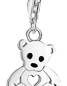 Thomas Sabo Women-Charm Pendant Teddy bear Charm Club 925 Sterling Silver Zirconia white 1119-041-14