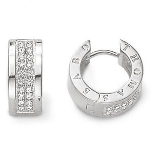 Thomas Sabo Women-Hinged Hoops Glam & Soul 925 Sterling Silver Zirconia white CR533-051-14