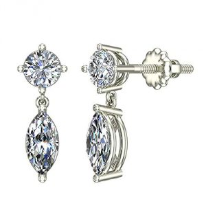 1.10 ct tw Round & Marquise Drop Two stone Diamond Dangle Earrings 14K White Gold