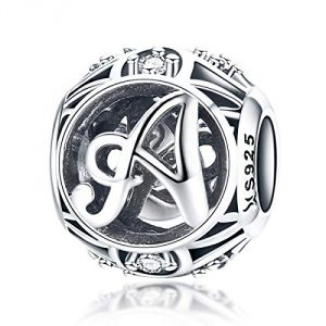100% Geniune 925 Sterling Silver Vintage A to Z, Clear CZ Alphabet Intial Letter Beads Fit Pandora Charms Bracelets, Bangles & Necklaces (Letter A)
